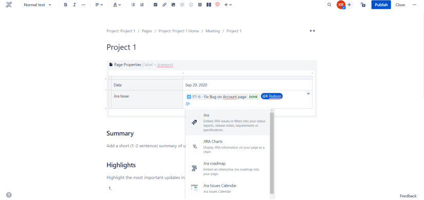 Slash Command Editor in Confluence