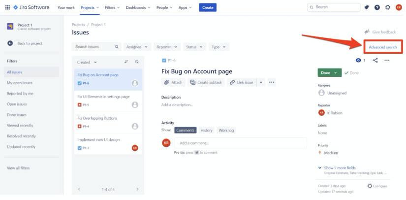 Jira Software Advanced Search