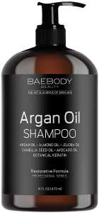 Baebody Moroccan Argan Oil Shampoo 16 Oz - Sulfate Free - Volumizing & Moisturizing, Gentle on Curly & Color Treated Hair, for Men & Women, Infused with Keratin