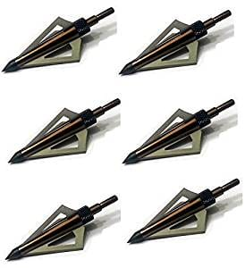 125 Grain Fixed Three Blade Broadheads, (6 Per Pack), Compatible with Crossbow and Compound Bow
