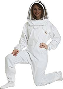 NATURAL APIARY - Apiarist Beekeeping Suit - White - (All-in-One) - Fencing Veil