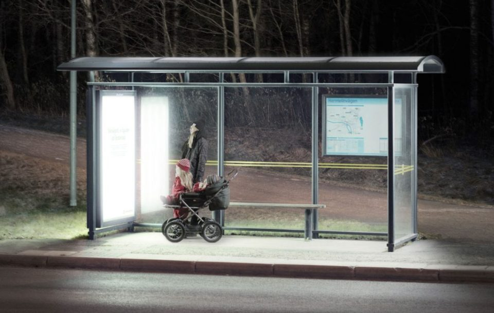"Bus Stop in Umeå, Sweden, transformed into a ""light therapy"" booth to boost public mental health during dark winter months."