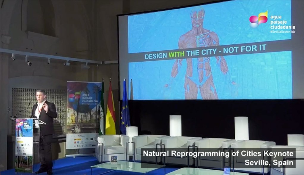 Scott Burnham delivering his keynote on Natural Reprogramming of Cities Water, Landscape and Citizens International Conference Seville, Spain