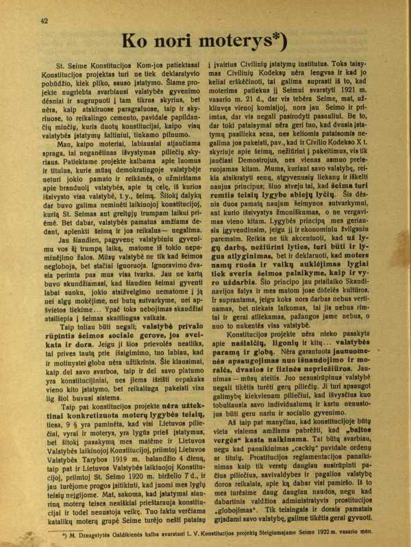 M. Draugelytės Galdikienės kalba Seime 1922 m.