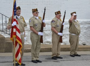 Members of Joseph L. Norton VFW Post No. 919 of Trenton posted the colors during Monday's Memorial Day ceremonies at the Grundy County Museum/Baker School.