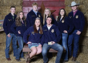 Seniors Sadie Roy and John Kelsall were named the 2015 Trenton FFA Barnwaming queen and king on Saturday night. Pictured aer, from left, front row, Miss Roy and Kelsall; back row, sophomores Jeremiah Lovell and Jakolbie Stotts, freshment Hunter Beverlin and Laura Carlson and juniors Karli Crawford and Jasper Hanson