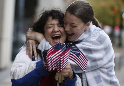Kelli Stewart, right, celebrates with Maureen Valdez outside the Mark O. Hatfield United States Courthouse after defendants were found not guilty in the trial for defendants of the Malheur National Wildlife Refuge occupation, Oct. 27, 2016. Beth Nakamura/Staff