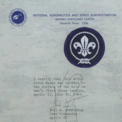 World Scout badge carried to the Moon by Astronaut Neil Armstrong.