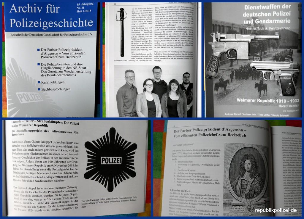 Heft 1/2018 des Archiv für Polizeigeschichte ist erschienen