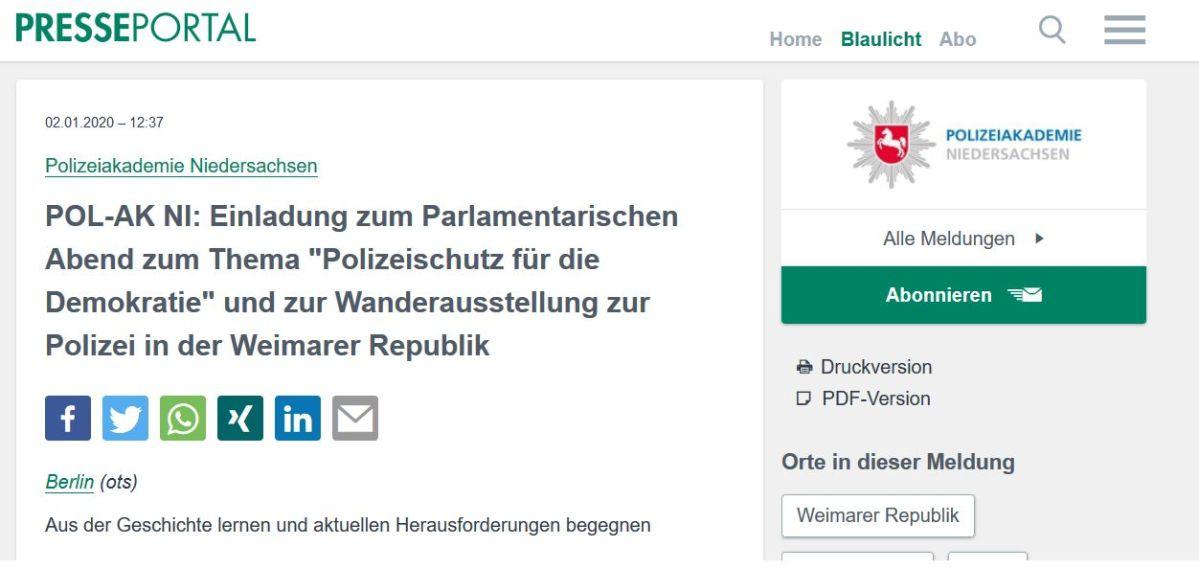Presseinformation der Polizeiakademie: Wanderausstellung und Parlamentarischer Abend zur Polizei in der Weimarer Republik