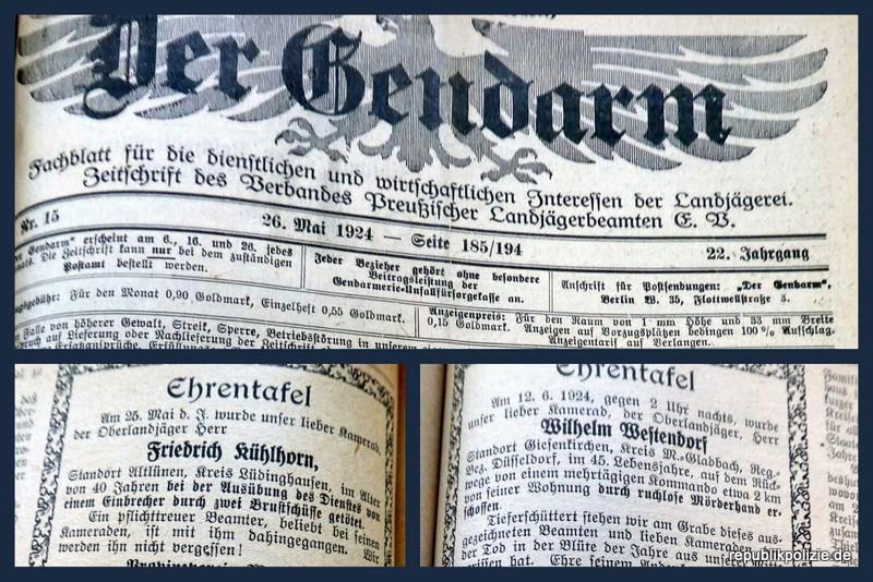 Nachruf – Der Gendarm 1924
