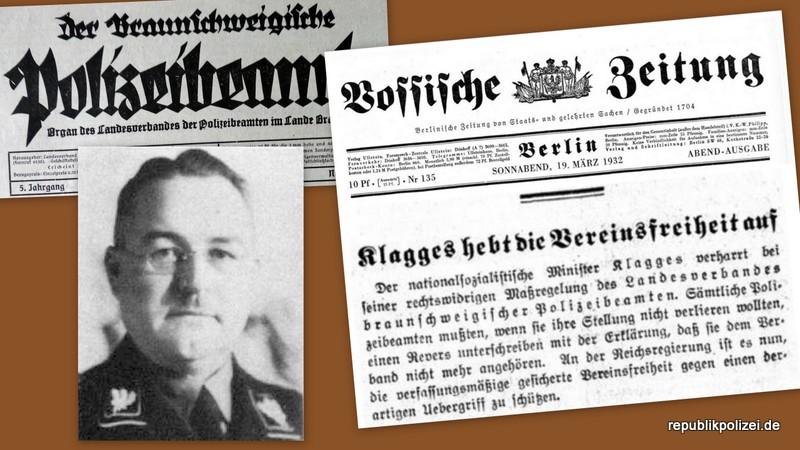 März 1932 – Innenminister verbietet Polizeibeamten die Mitgliedschaft im Verband braunschweigischer Polizeibeamter