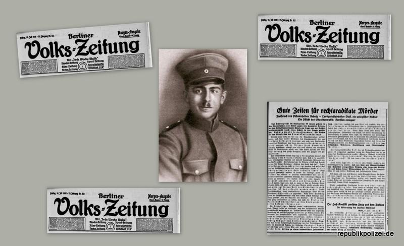 Berliner Volks-Zeitung Zeitungsmeldungen zum Todesfall des Reichsbannermann Erich Schulz, Berlin, 26.04.1925