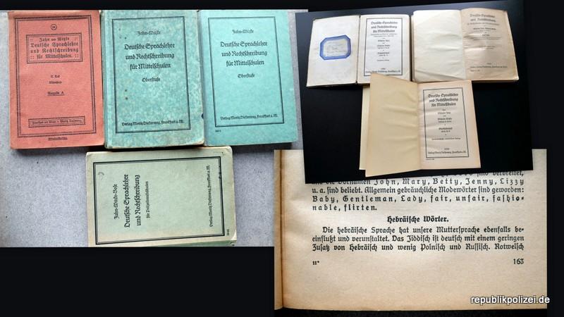 """Schulbuchvergleich 1919, 1926, 1930 und 1939: """"Deutsche Sprachlehre und Rechtschreibung"""""""
