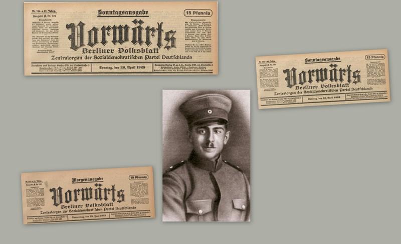 Vorwärts Zeitungsmeldungen zum Todesfall des Reichsbannermann Erich Schulz, Berlin, 26.04.1925