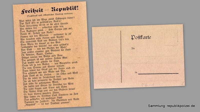 Postkartentext: Freiheit-Republik