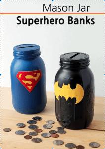 Superhero bank mason jars