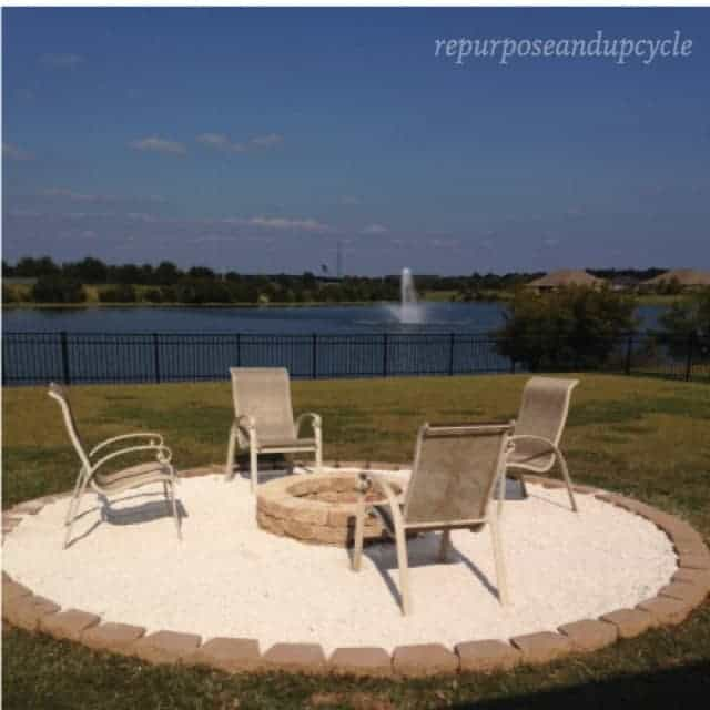 DIY Firepit with Pea Gravel and Pavers