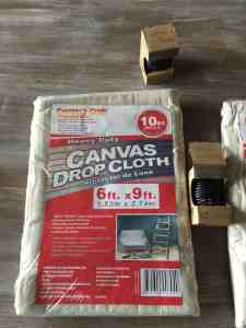 DIY drop cloth curtains supplies