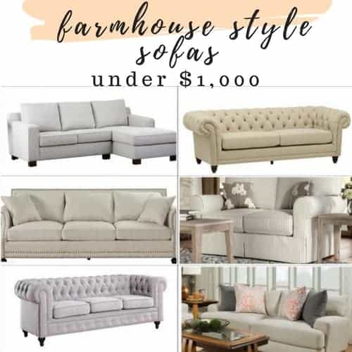 Affordable Farmhouse Style Sofa's and Sectionals for Under $1000