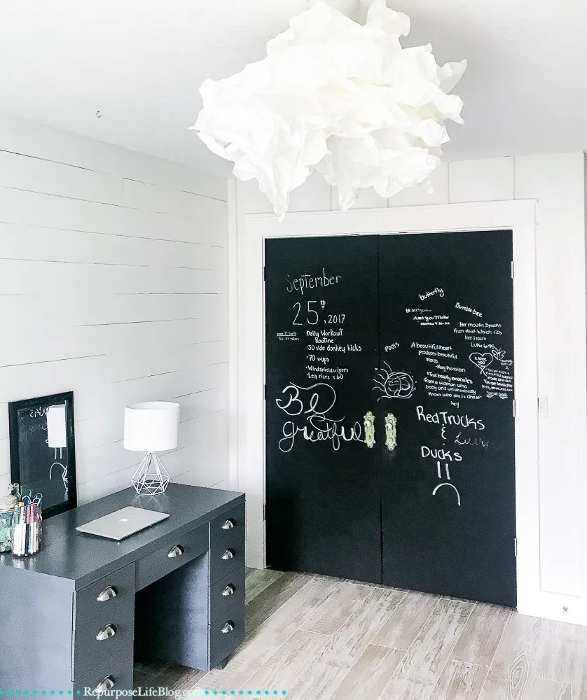creativity comes to life with chalkboard closet doors