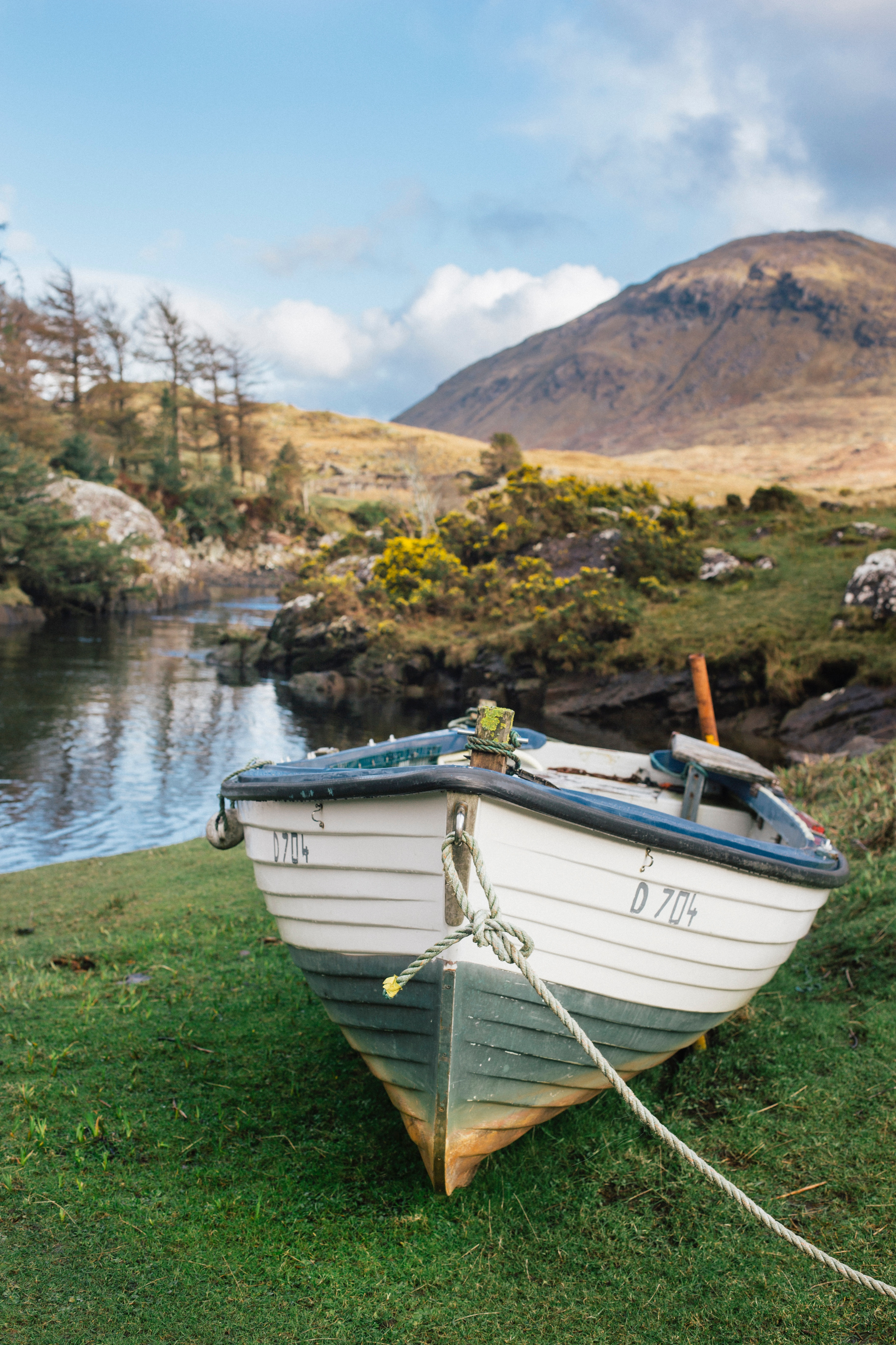 An old boat with shiplap on the sides careened on a grassy shore