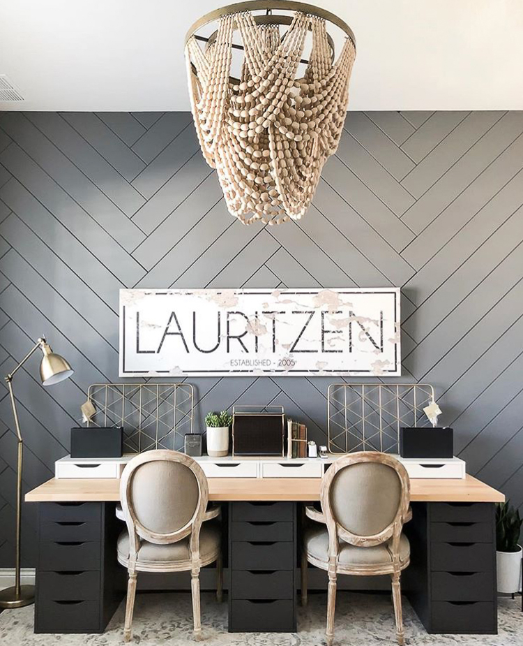 Herringbone accent wall in a home office