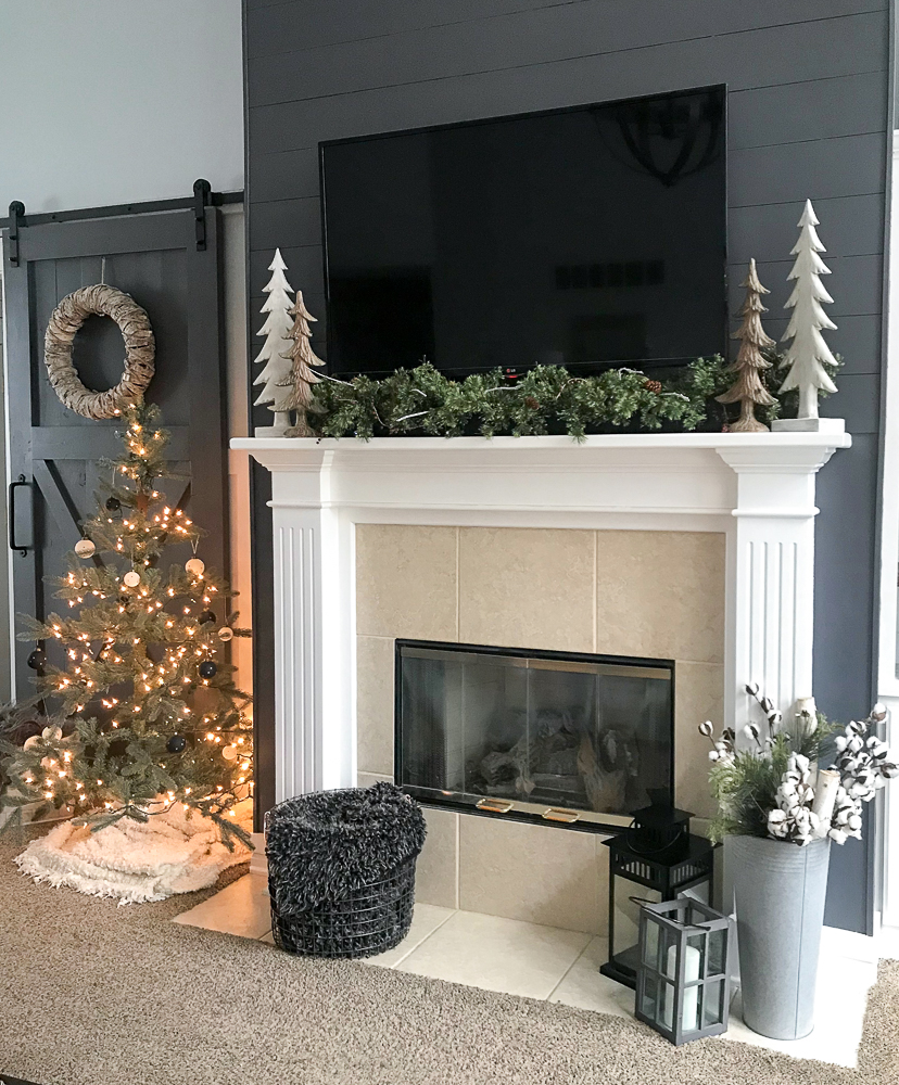 mantle decorated for christmas