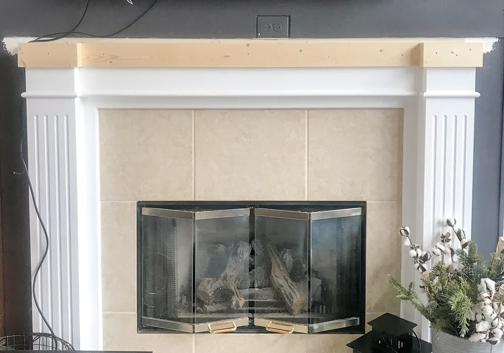 mantel removed and trim added