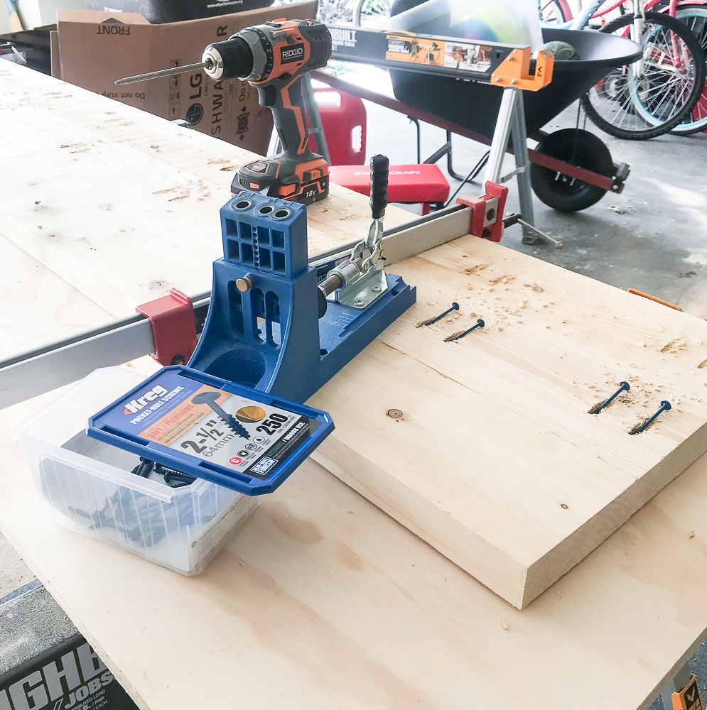 bench top being built out of three 2x6's with pocket holes