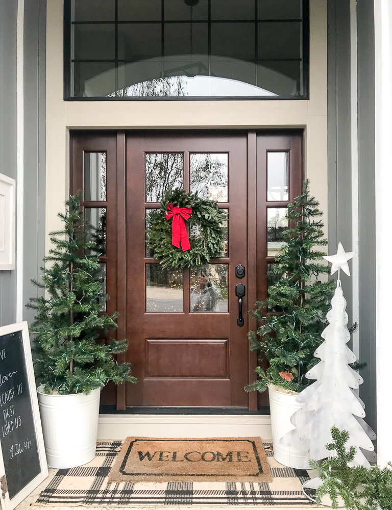 christmas outdoors front porch new front door