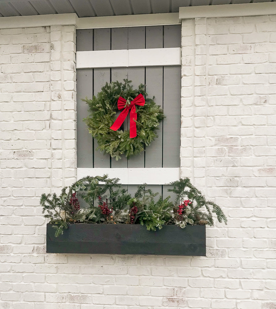flower box with wreath