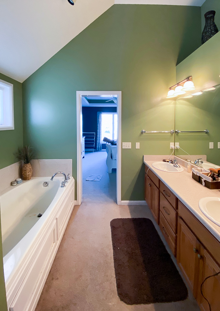 Before picture of master bathroom vanity area