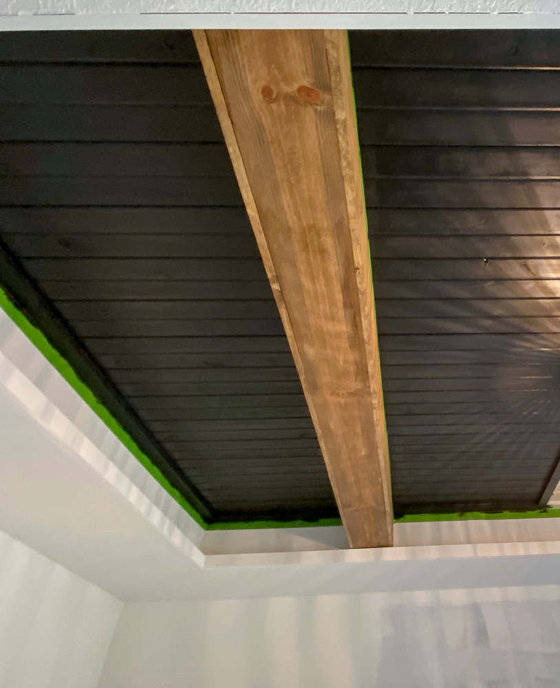Black carsiding ceiling with