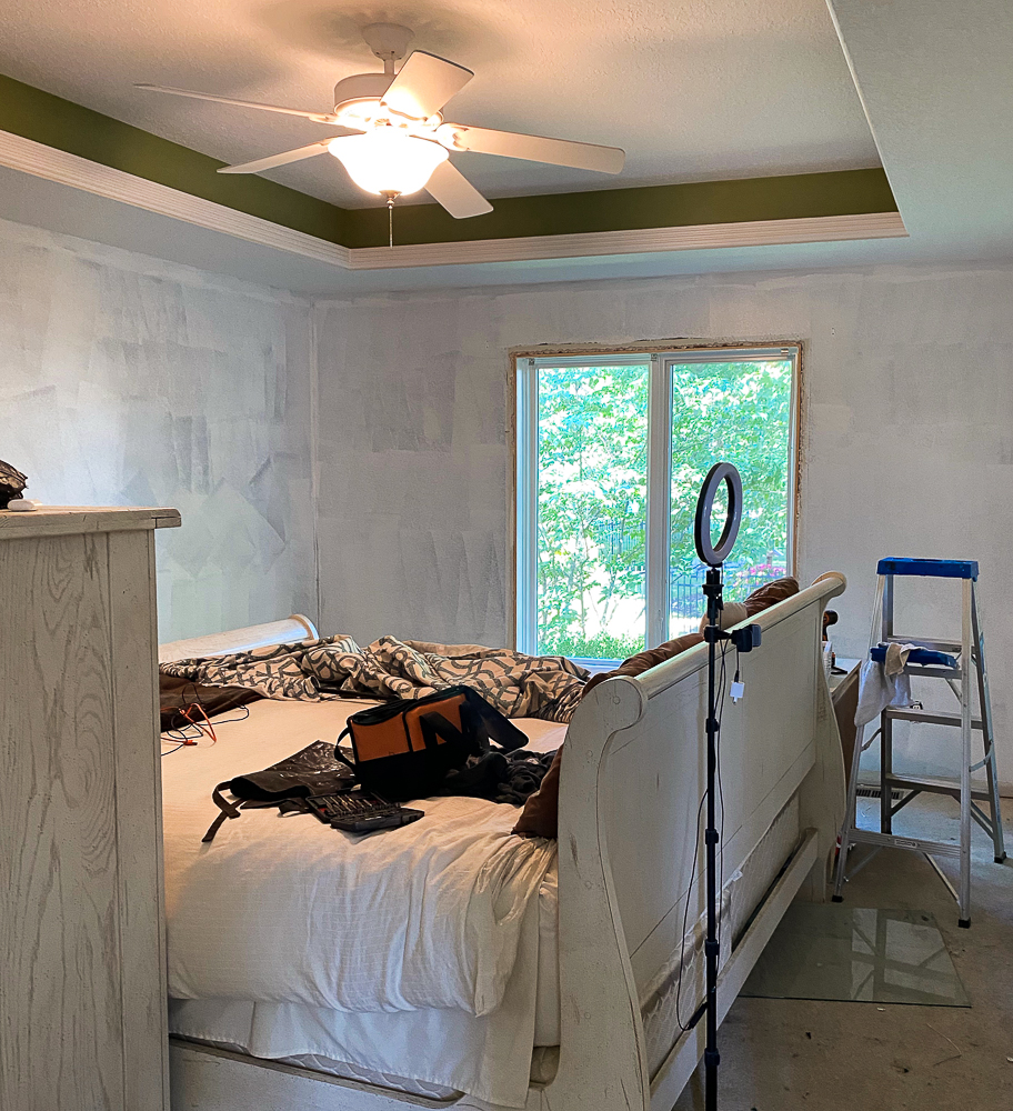master bedroom in middle of remodel