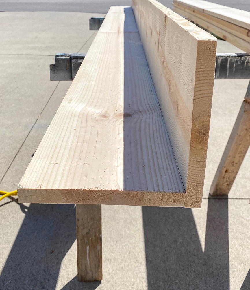 Half of a ceiling beam for tray ceiling