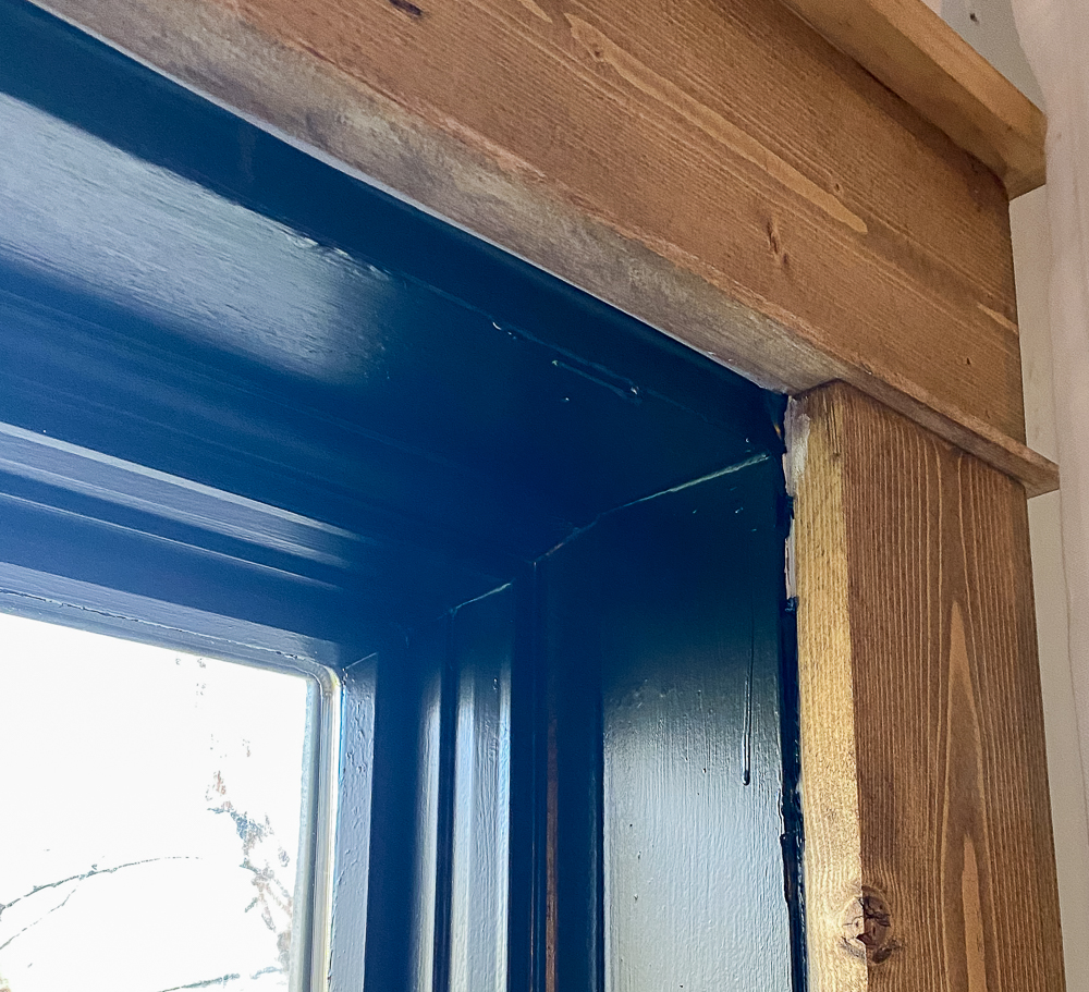 window trim covered with black electrical tape
