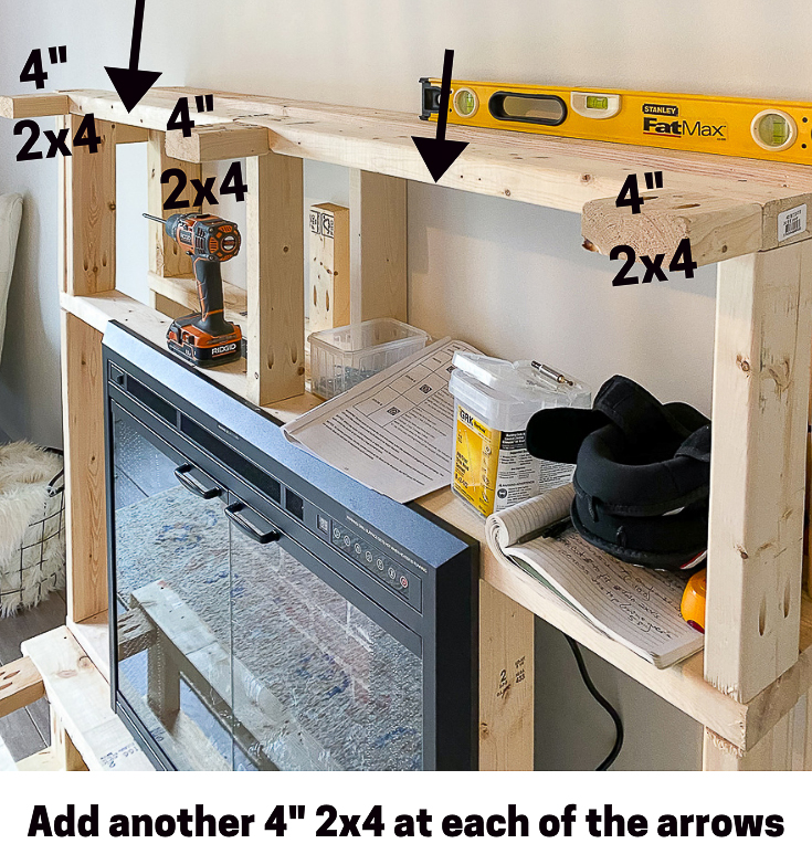 Risers and extra 2x4's pointed out for hearth and mantel