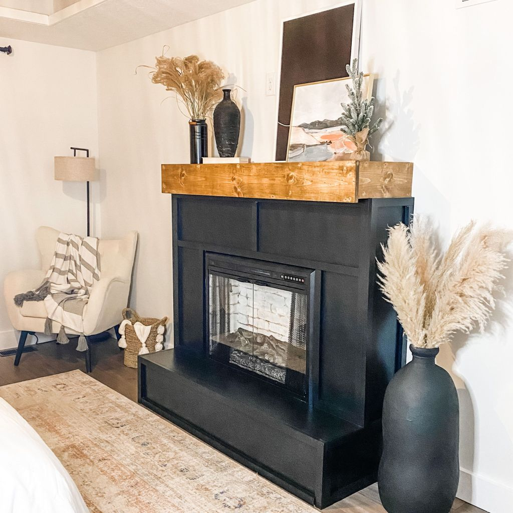 Faux brick fireplace in master bedroom