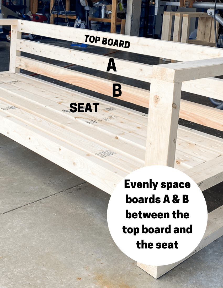 Diagram for outdoor sofa build to point out placement of 2x4's