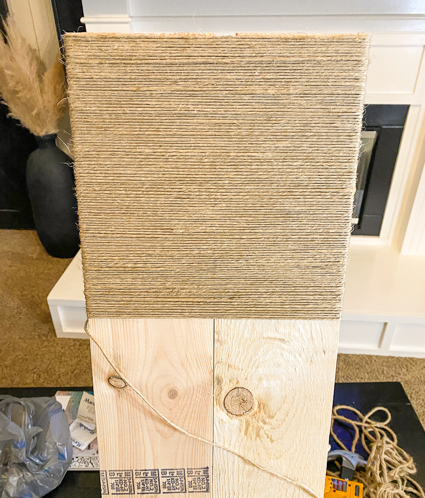 Console table top wrapped partly with hemp cord