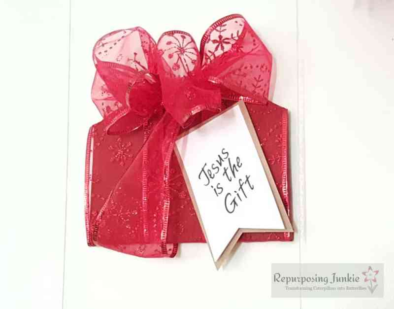 """Repurposed Ceiling Fan Blade into Christmas Decor, Hot Cocoa Cups, Angels, Present with """"Jesus is the Gift"""""""