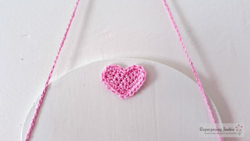 """Repurposed Ceiling Fan Blades into a Valentine's Day Sign with Crocheted Heart and Stenciled Message, """"I'm Your BIGGEST Fan"""""""