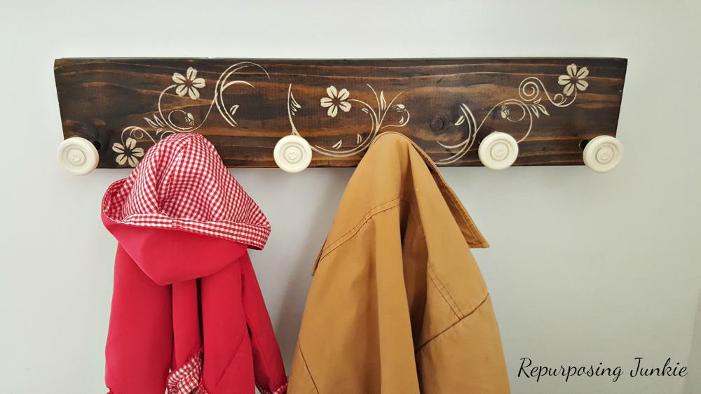 How I Made a Coat Rack from 2x6 and Garage Door Rollers