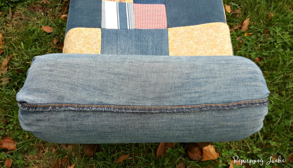 Reupholstered Bench Using Repurposed Jeans and Fabric Scraps