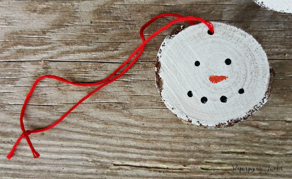 Wood Slice Snowmen Ornaments