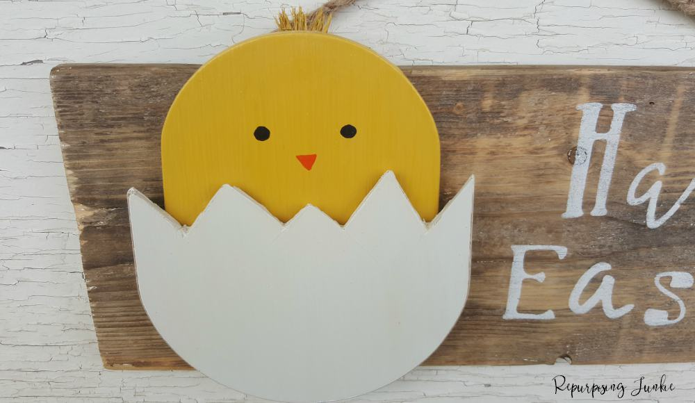Repurposed Ceiling Fan Blade into Happy Easter Baby Chick Sign Wall Art