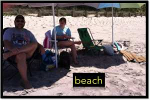 Photo of beach with text