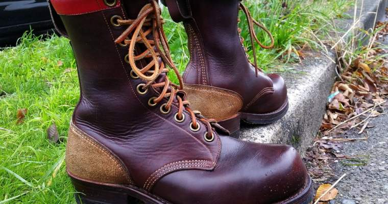 J Leckie Skookum logger boots, from way back in the day. #rerides #vintage. Item 8278