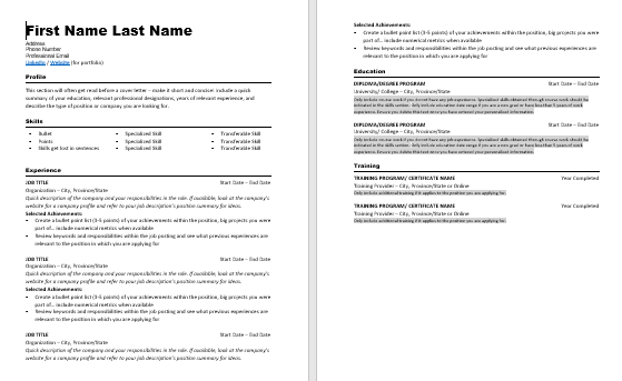 Image of Resume Template for Purchase